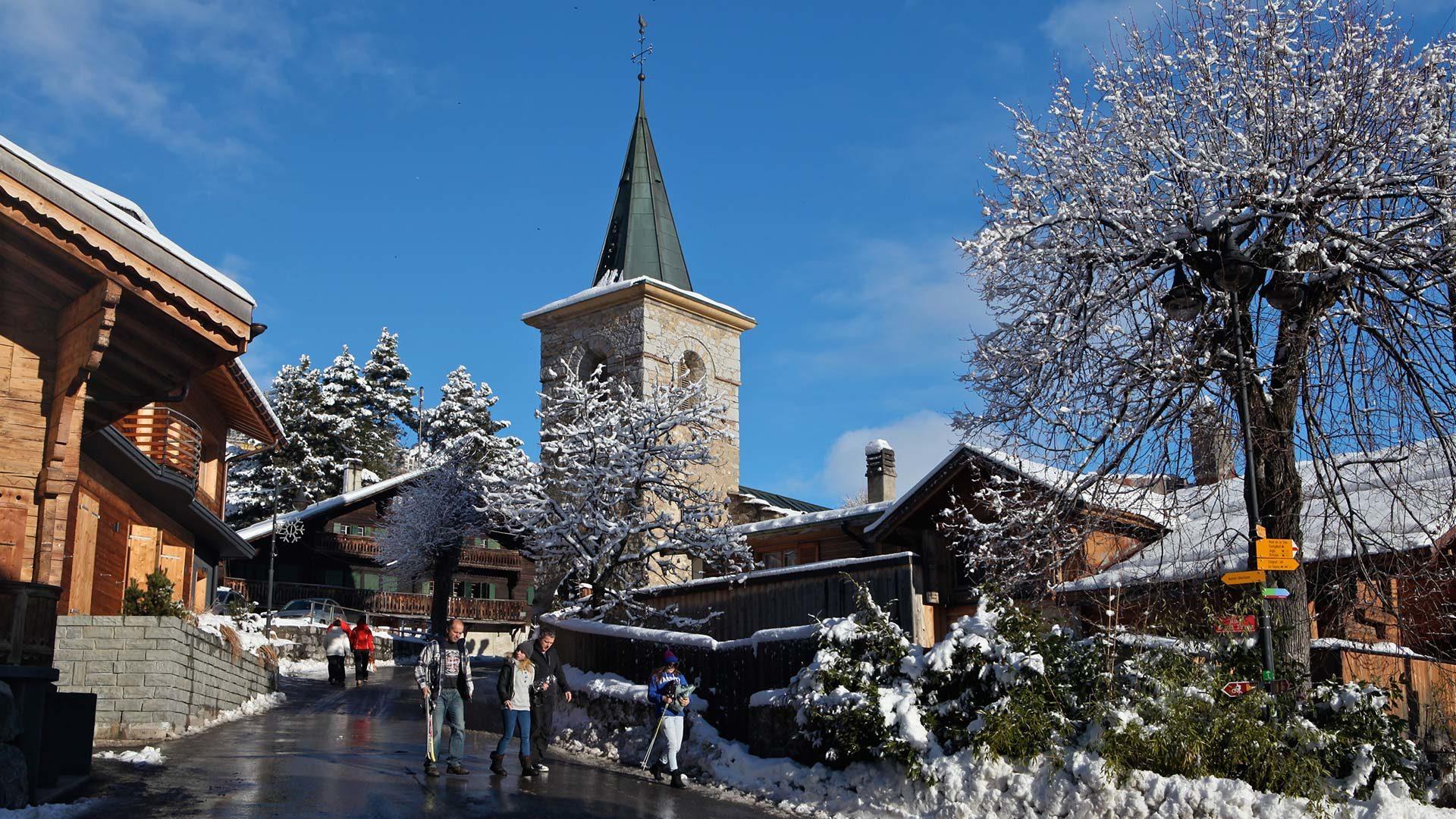 Leysin-Hiver-Village-Eglise